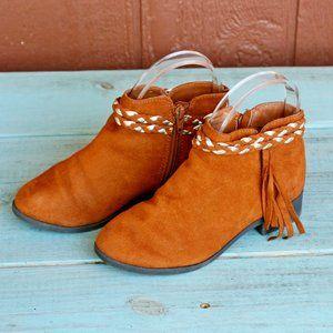 Wonder Nation Rust Brown Ankle Booties Fringe Sz 2
